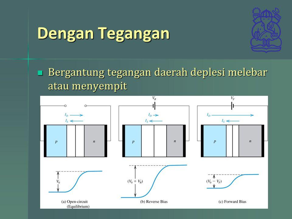 Dengan Tegangan Bergantung tegangan daerah deplesi melebar atau menyempit
