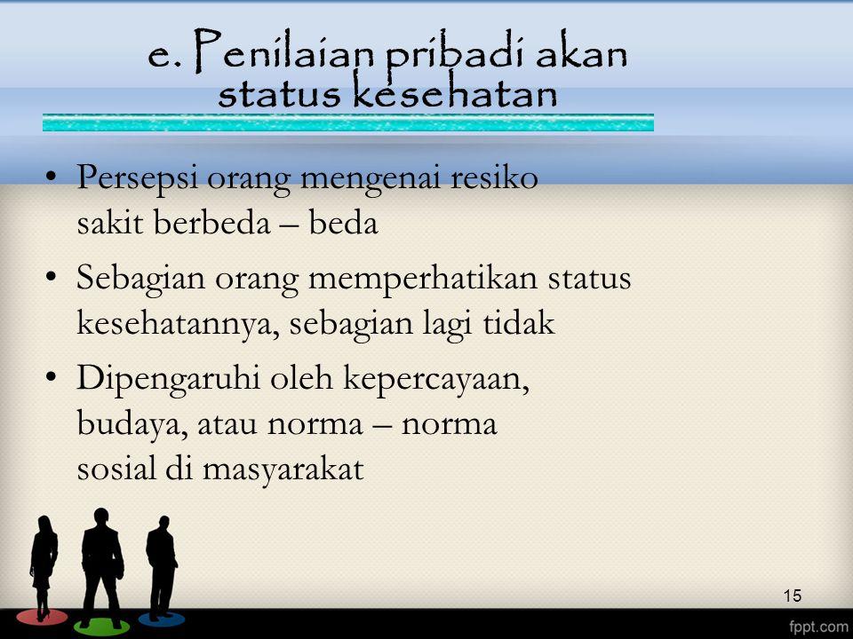 e. Penilaian pribadi akan status kesehatan