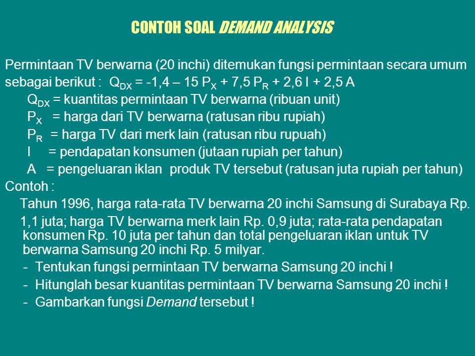 CONTOH SOAL DEMAND ANALYSIS