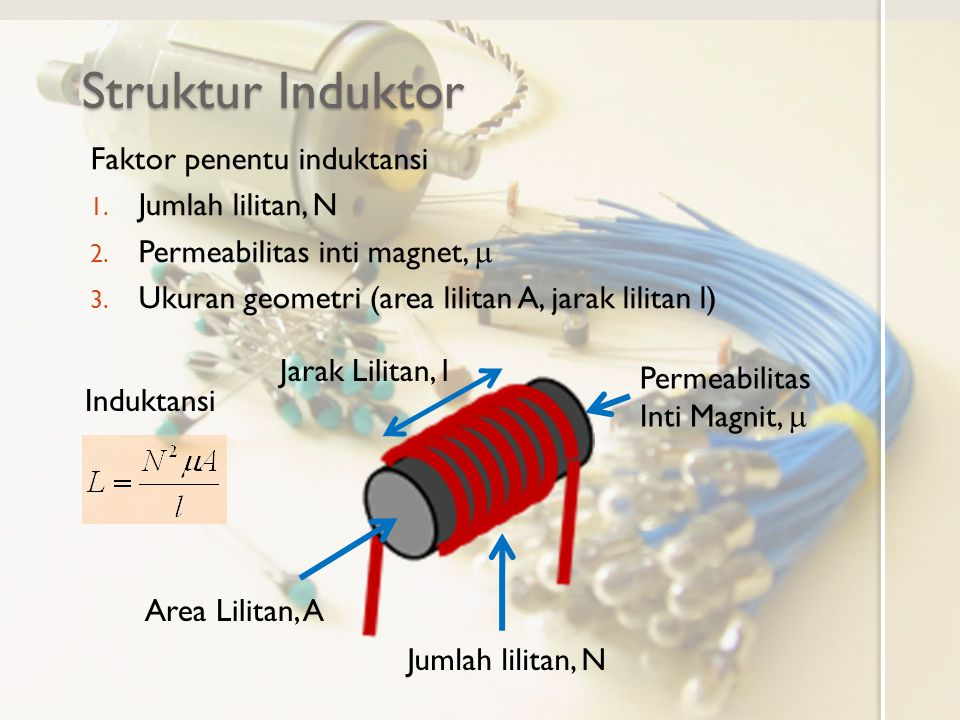 Struktur Induktor Faktor penentu induktansi Jumlah lilitan, N