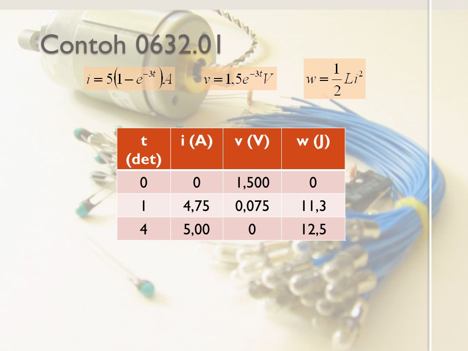 Contoh 0632.01 t (det) i (A) v (V) w (J) 1,500 1 4,75 0,075 11,3 4