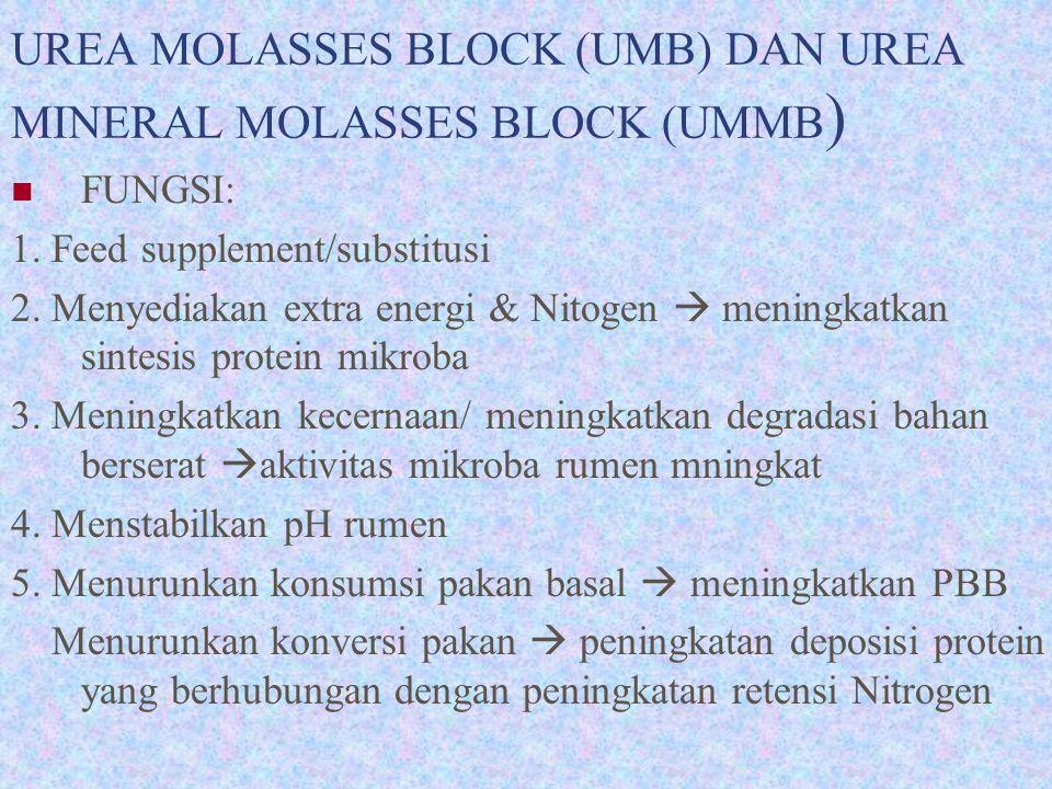 UREA MOLASSES BLOCK (UMB) DAN UREA MINERAL MOLASSES BLOCK (UMMB)