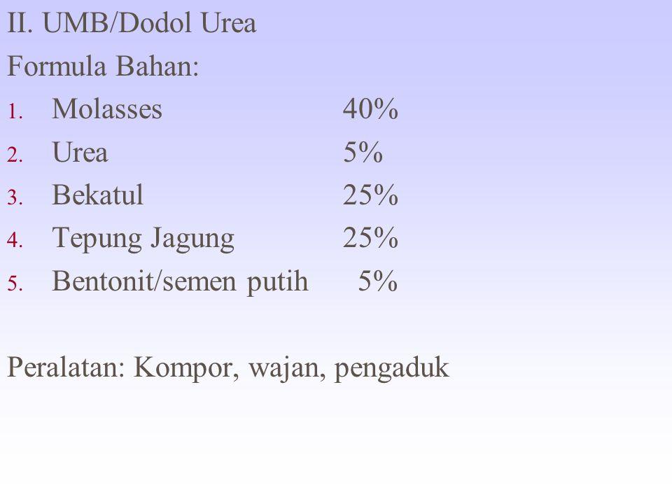 II. UMB/Dodol Urea Formula Bahan: Molasses 40% Urea 5% Bekatul 25% Tepung Jagung 25% Bentonit/semen putih 5%