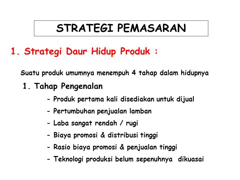 STRATEGI PEMASARAN 1. Strategi Daur Hidup Produk : 1. Tahap Pengenalan