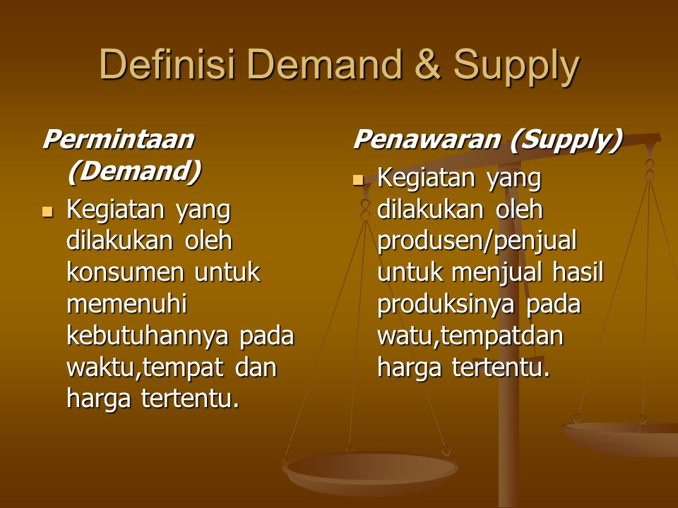 Definisi Demand & Supply