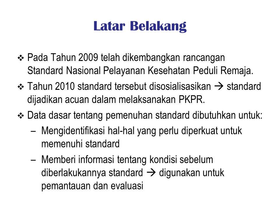 Latar Belakang Pada Tahun 2009 telah dikembangkan rancangan Standard Nasional Pelayanan Kesehatan Peduli Remaja.
