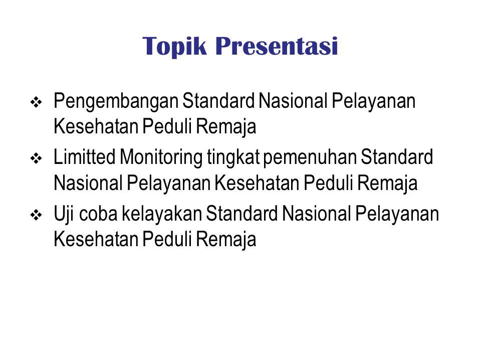 Topik Presentasi Pengembangan Standard Nasional Pelayanan Kesehatan Peduli Remaja.