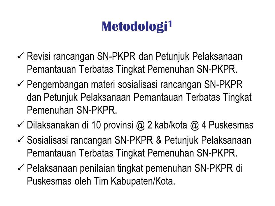 Metodologi1 Revisi rancangan SN-PKPR dan Petunjuk Pelaksanaan Pemantauan Terbatas Tingkat Pemenuhan SN-PKPR.