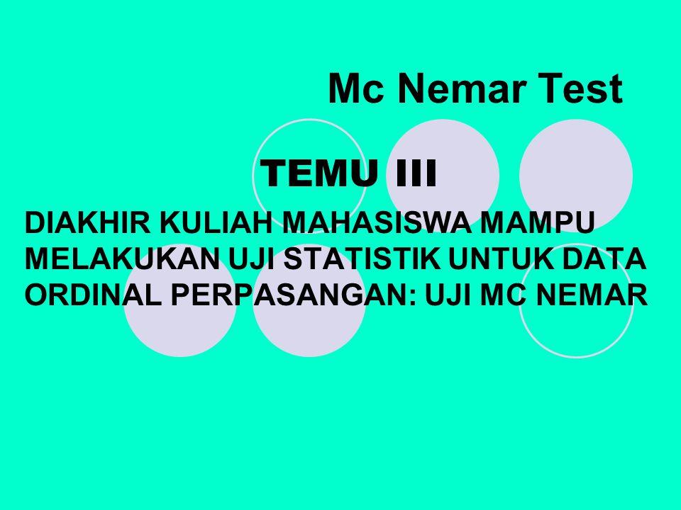 Mc Nemar Test TEMU III.