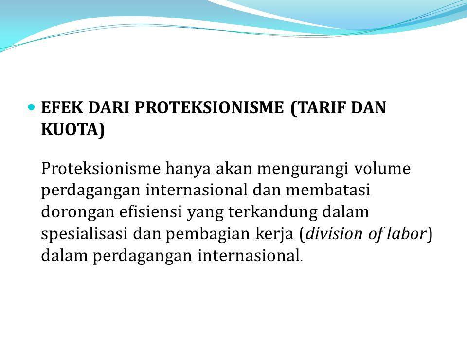 EFEK DARI PROTEKSIONISME (TARIF DAN KUOTA) Proteksionisme hanya akan mengurangi volume perdagangan internasional dan membatasi dorongan efisiensi yang terkandung dalam spesialisasi dan pembagian kerja (division of labor) dalam perdagangan internasional.