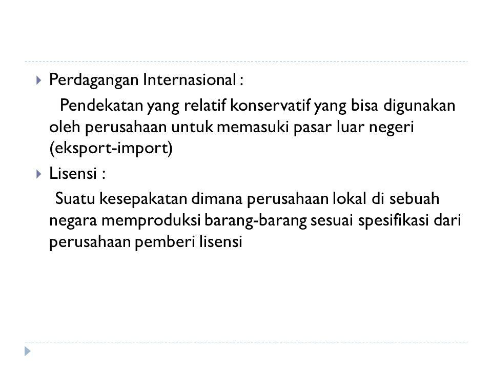 Perdagangan Internasional :