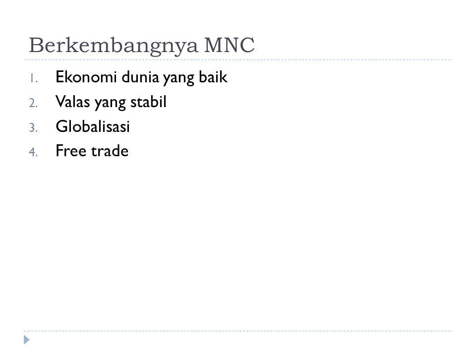 Berkembangnya MNC Ekonomi dunia yang baik Valas yang stabil