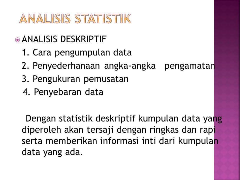 ANALISIS STATISTIK ANALISIS DESKRIPTIF 1. Cara pengumpulan data