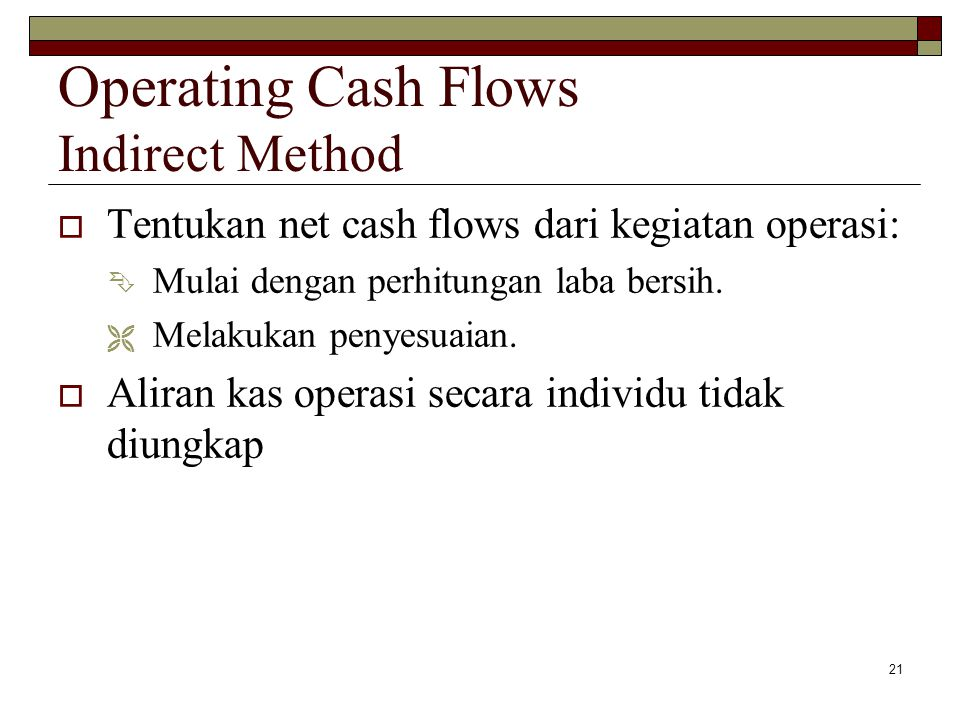 Operating Cash Flows Indirect Method