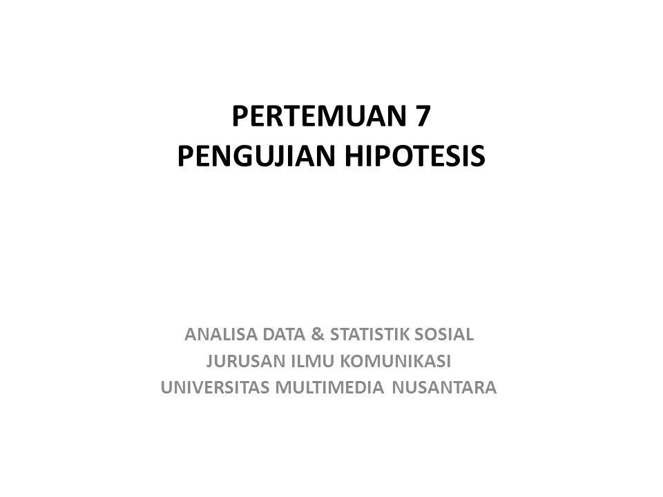 PERTEMUAN 7 PENGUJIAN HIPOTESIS