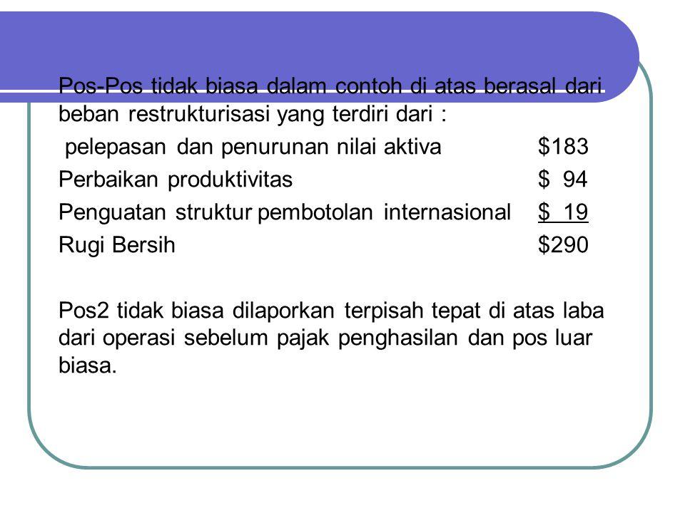 Pos-Pos tidak biasa dalam contoh di atas berasal dari beban restrukturisasi yang terdiri dari :