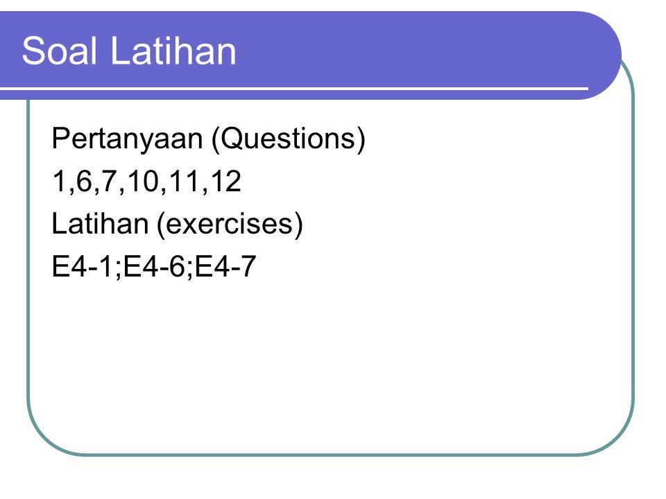 Soal Latihan Pertanyaan (Questions) 1,6,7,10,11,12 Latihan (exercises)