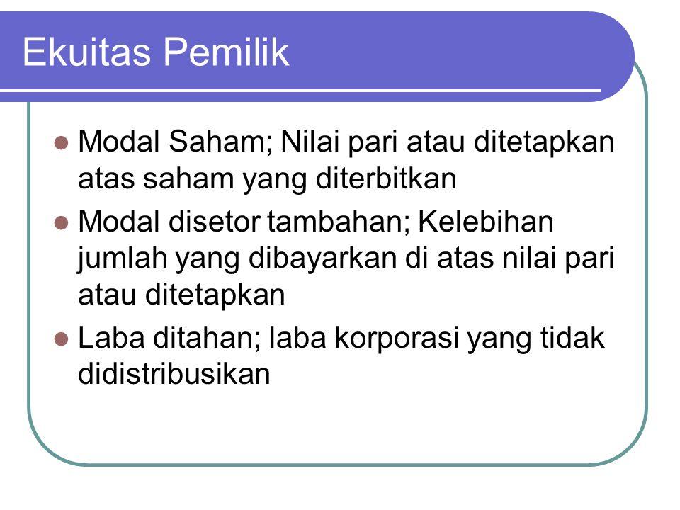 Ekuitas Pemilik Modal Saham; Nilai pari atau ditetapkan atas saham yang diterbitkan.