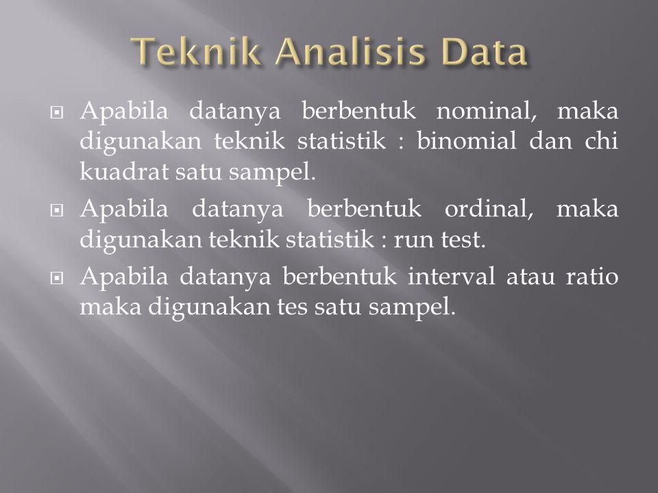 Teknik Analisis Data Apabila datanya berbentuk nominal, maka digunakan teknik statistik : binomial dan chi kuadrat satu sampel.