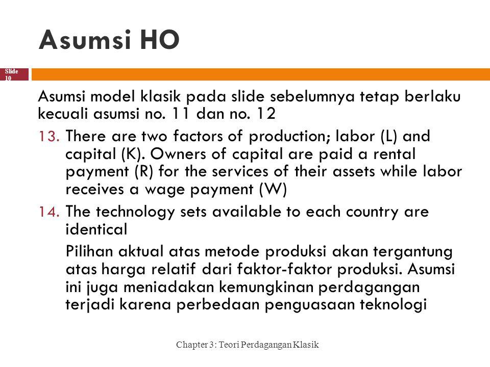 Asumsi HO Asumsi model klasik pada slide sebelumnya tetap berlaku kecuali asumsi no. 11 dan no. 12.