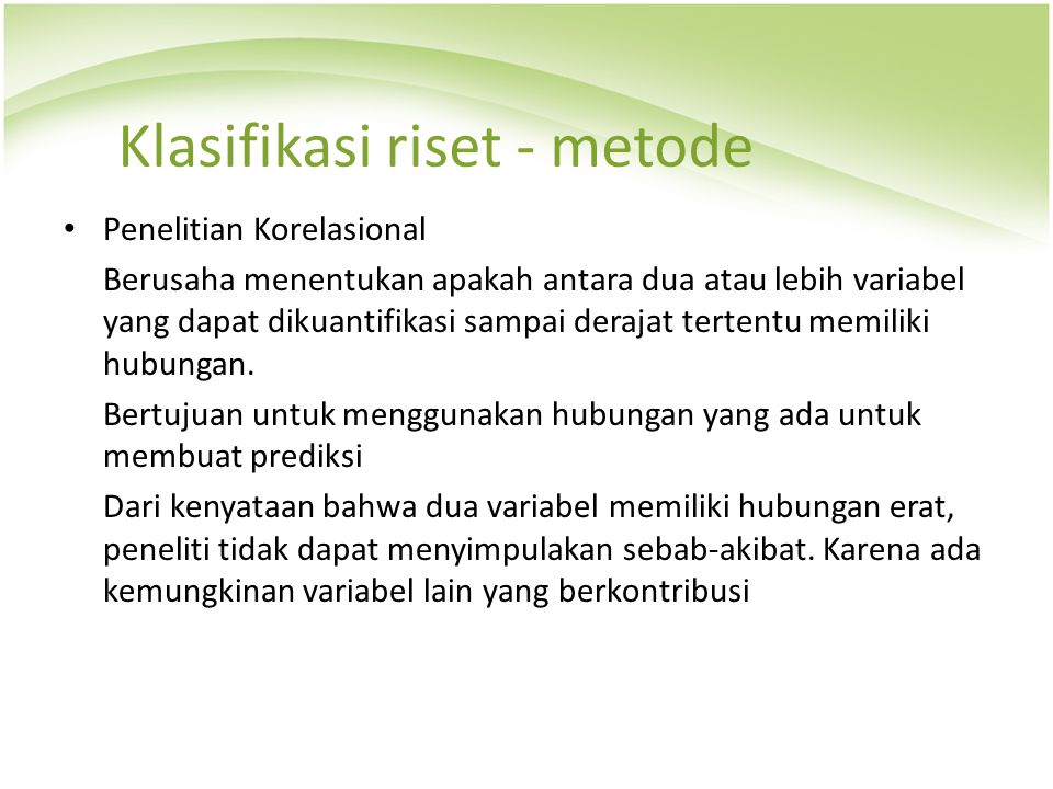 Klasifikasi riset - metode