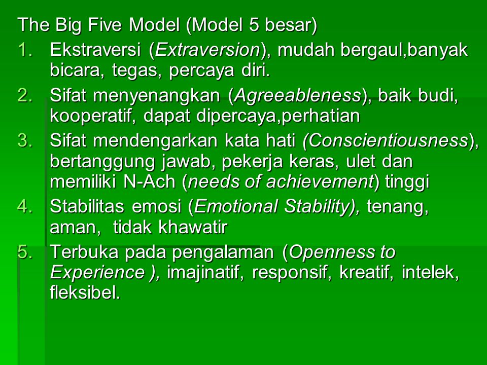 The Big Five Model (Model 5 besar)