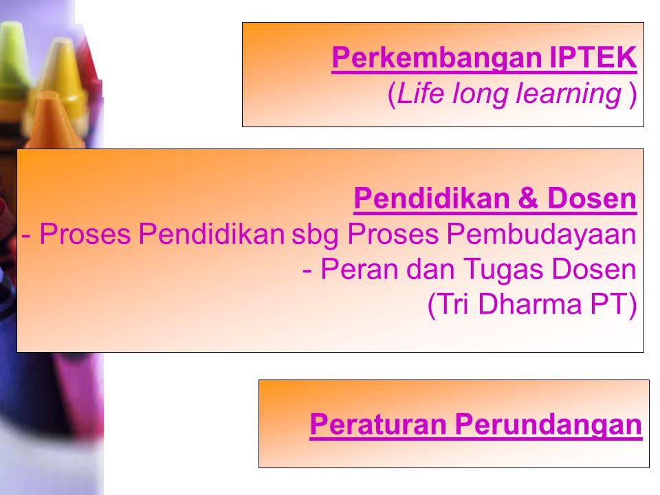 Perkembangan IPTEK (Life long learning ) Pendidikan & Dosen. - Proses Pendidikan sbg Proses Pembudayaan.