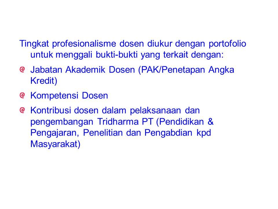 Tingkat profesionalisme dosen diukur dengan portofolio untuk menggali bukti-bukti yang terkait dengan: