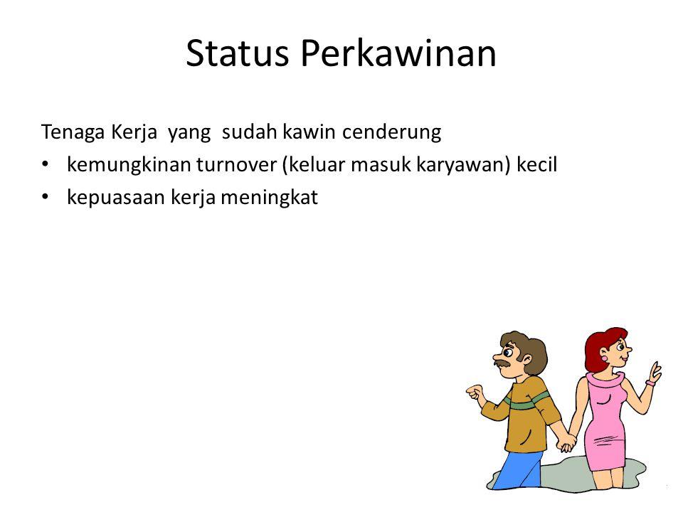 Status Perkawinan Tenaga Kerja yang sudah kawin cenderung