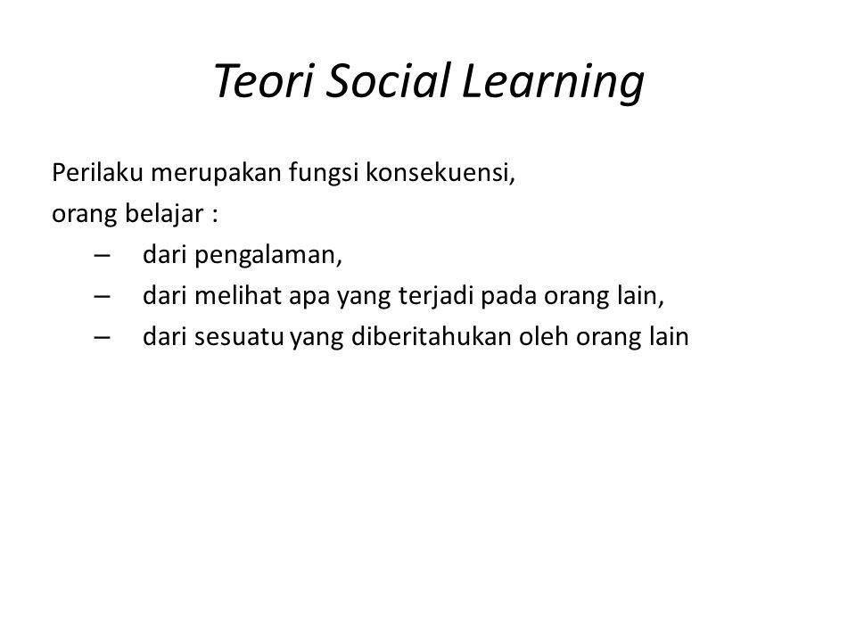 Teori Social Learning Perilaku merupakan fungsi konsekuensi,