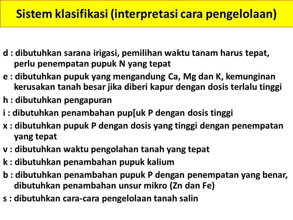 Sistem klasifikasi (interpretasi cara pengelolaan)