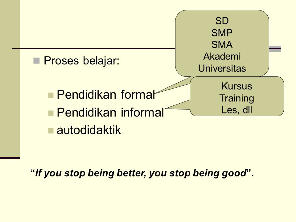 Pendidikan formal Pendidikan informal autodidaktik Proses belajar: SD