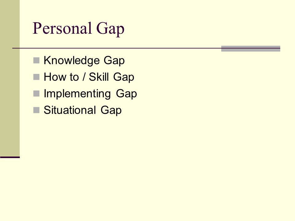 Personal Gap Knowledge Gap How to / Skill Gap Implementing Gap