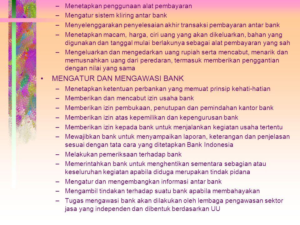 MENGATUR DAN MENGAWASI BANK