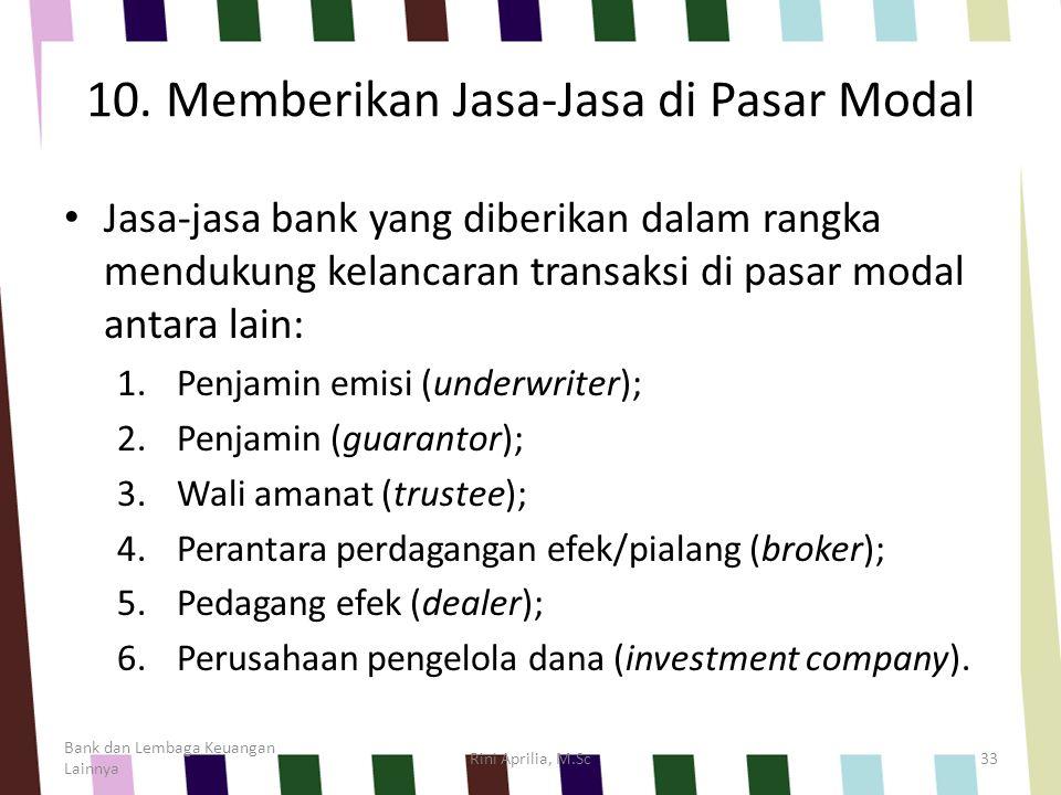10. Memberikan Jasa-Jasa di Pasar Modal