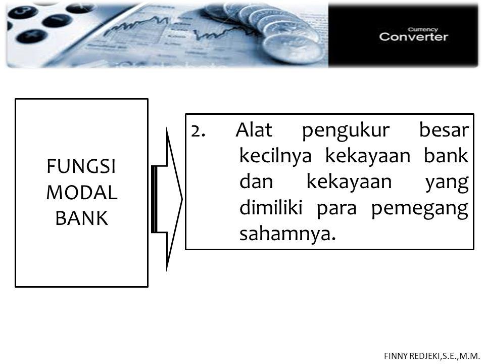 PASIVA FUNGSI MODAL. BANK. 2. Alat pengukur besar kecilnya kekayaan bank dan kekayaan yang dimiliki para pemegang sahamnya.