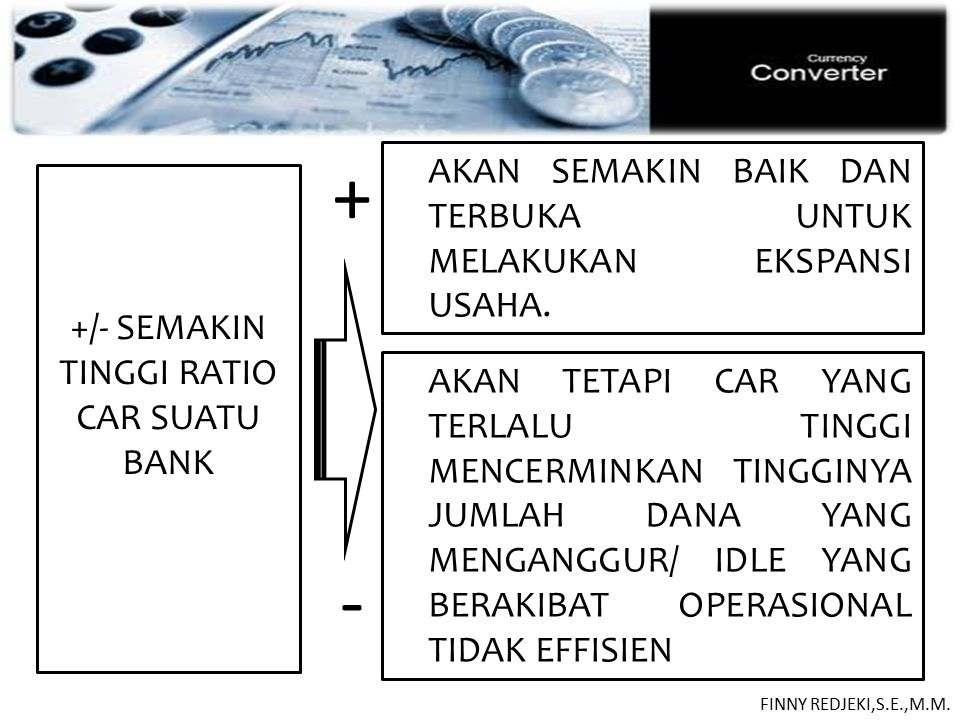 +/- SEMAKIN TINGGI RATIO CAR SUATU BANK