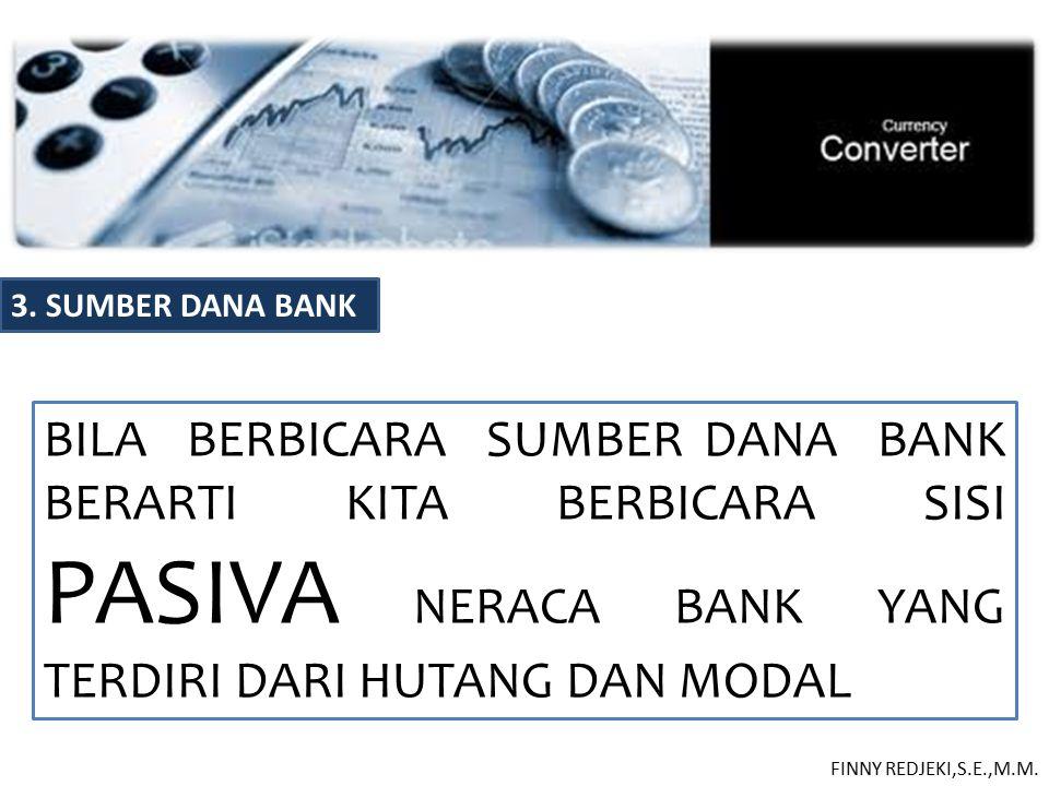 3. SUMBER DANA BANK BILA BERBICARA SUMBER DANA BANK BERARTI KITA BERBICARA SISI PASIVA NERACA BANK YANG TERDIRI DARI HUTANG DAN MODAL.