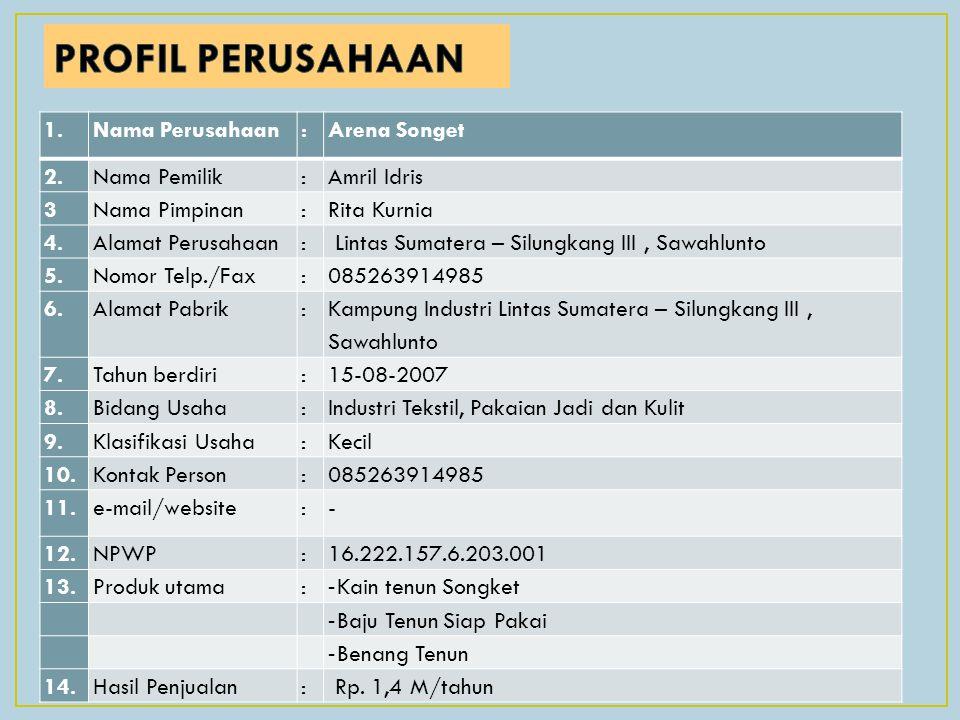 PROFIL PERUSAHAAN 1. Nama Perusahaan : Arena Songet 2. Nama Pemilik