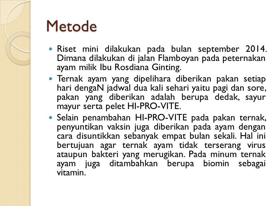 Metode Riset mini dilakukan pada bulan september 2014. Dimana dilakukan di jalan Flamboyan pada peternakan ayam milik Ibu Rosdiana Ginting.