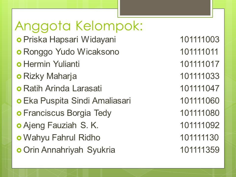 Anggota Kelompok: Priska Hapsari Widayani 101111003