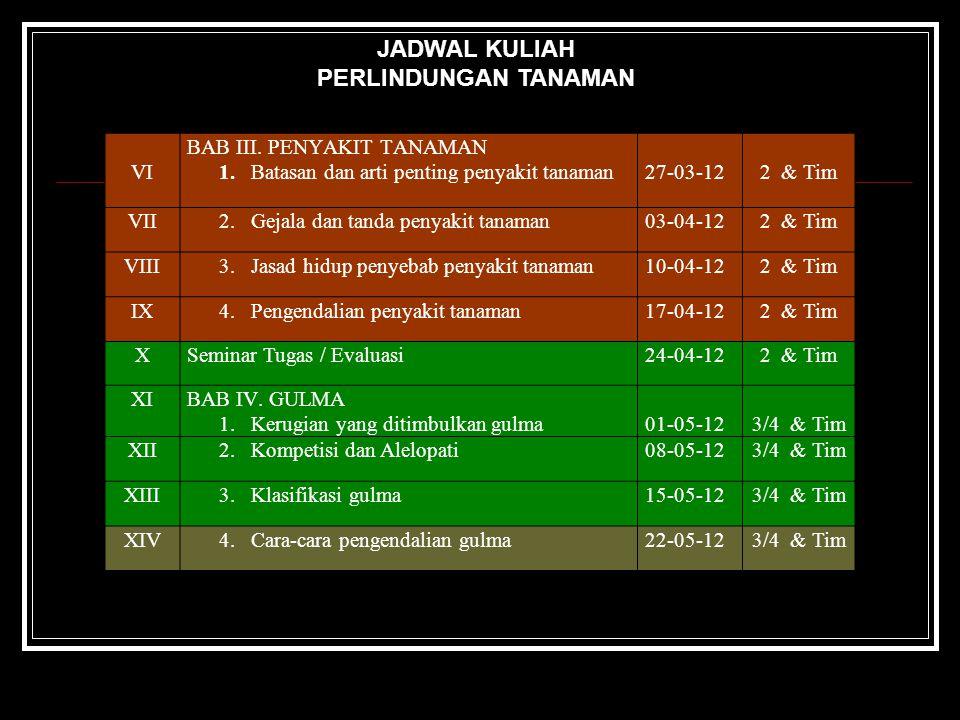 JADWAL KULIAH PERLINDUNGAN TANAMAN VI BAB III. PENYAKIT TANAMAN