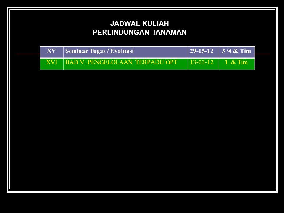 JADWAL KULIAH PERLINDUNGAN TANAMAN XV Seminar Tugas / Evaluasi