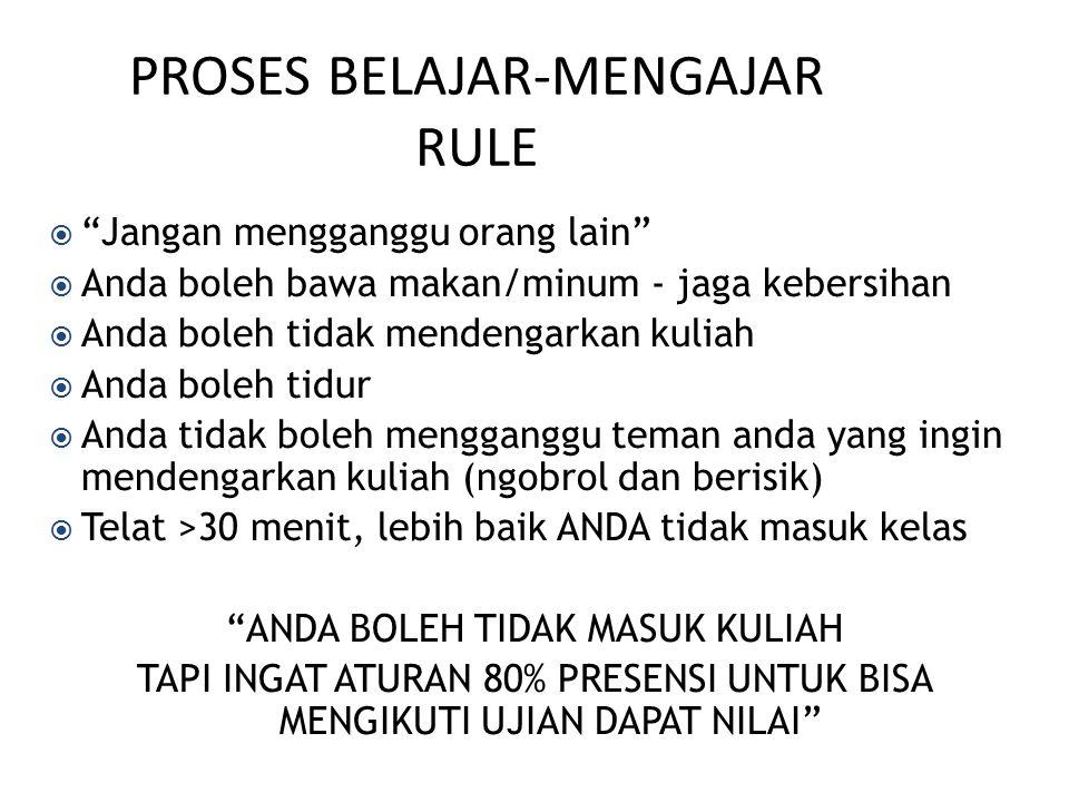 PROSES BELAJAR-MENGAJAR RULE