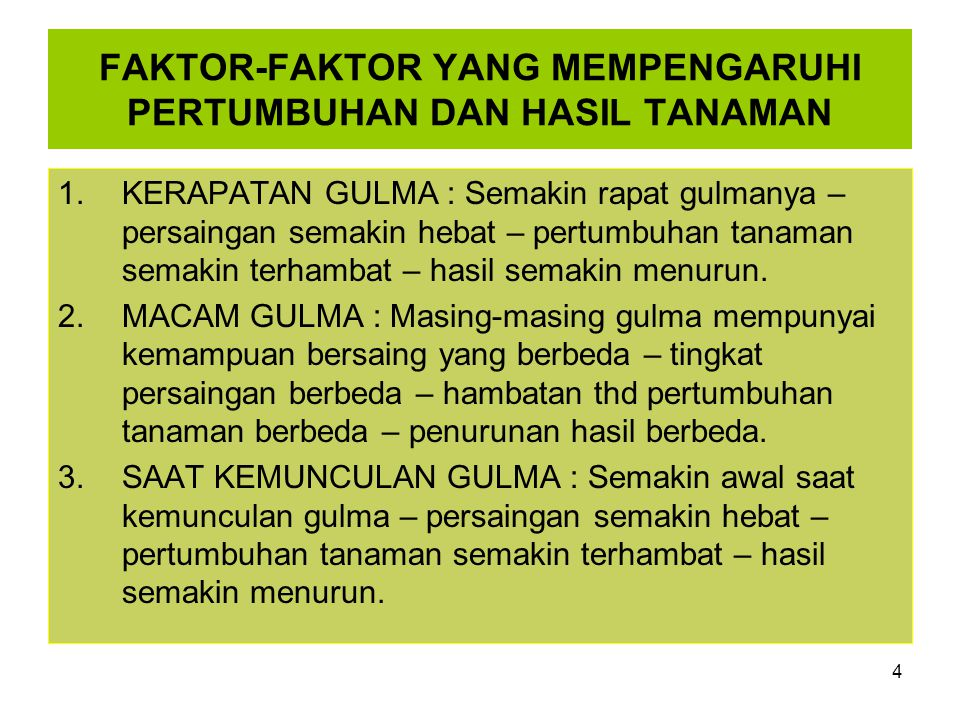 FAKTOR-FAKTOR YANG MEMPENGARUHI PERTUMBUHAN DAN HASIL TANAMAN