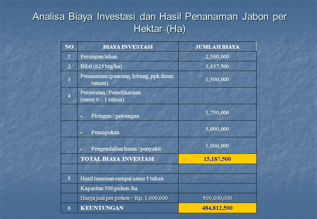 Analisa Biaya Investasi dan Hasil Penanaman Jabon per Hektar (Ha)