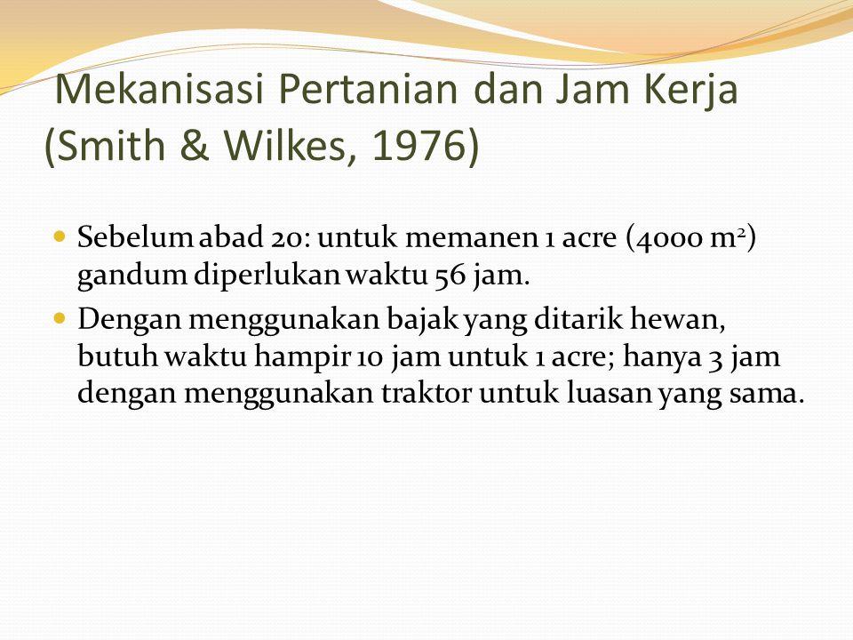 Mekanisasi Pertanian dan Jam Kerja (Smith & Wilkes, 1976)