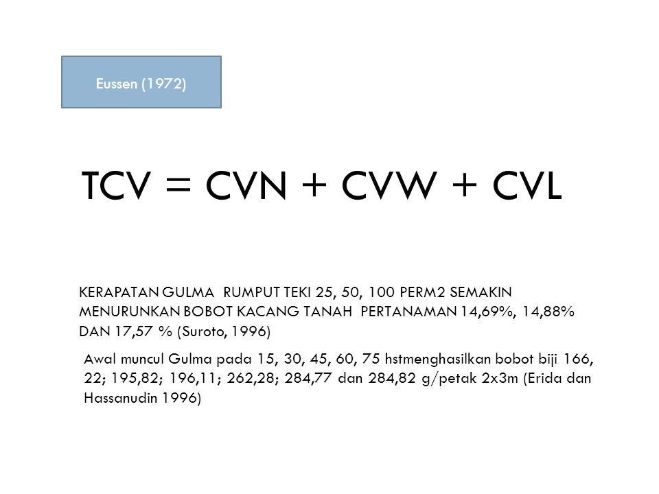 TCV = CVN + CVW + CVL Eussen (1972)
