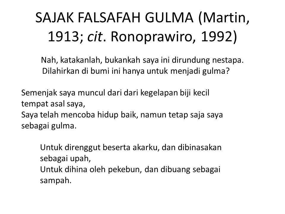 SAJAK FALSAFAH GULMA (Martin, 1913; cit. Ronoprawiro, 1992)