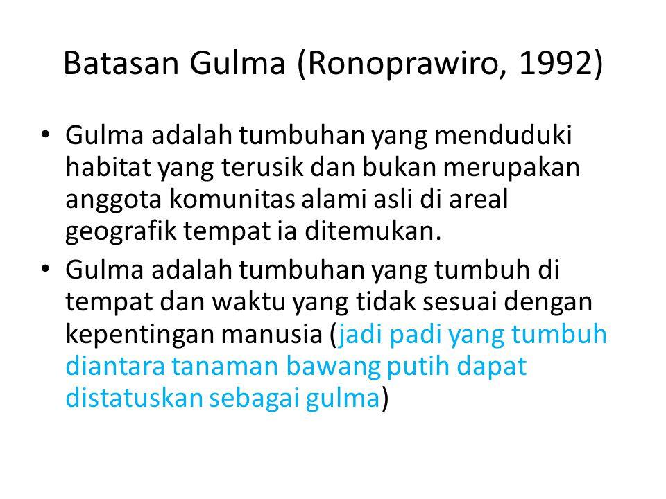 Batasan Gulma (Ronoprawiro, 1992)